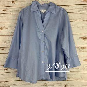 Foxcroft XL button front top blue non-iron cotton